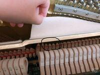 アップライトピアノです。 ダンパー?の部分が弦から離れると思うのですが この4本だけ綺麗に離れません。この4本だけ他のところと形が違います。音が伸びないのはこれが原因でしょうか。。 音が伸びないのはこれが原因でしょうか。。