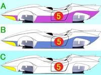 マッハGoGoGo! の マッハ号 についての質問です。  マッハ号のボディーカラーはどれがお好みですか? 添え付け画像に有る A、B、C の3パターンのみです。  A:薄い紫色 (微妙に赤味が強い感じでしょうか)。...