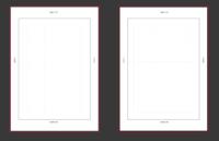 ポートフォリオのデータ作成について  ポートフォリオをIllustratorを使用して作成しようと考えています。 その上で作成方法がわからないため質問させてください。 仕上がりサイズはA4、画像のようなテンプレートに沿って作成予定なのですが、 二ページに渡って作品画像を配置したい場合どのような手順を踏めば良いでしょうか。 アートボードを左右ページのノドに重ねて画像配置という認識で合...