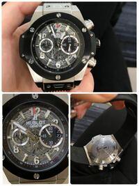ウブロに詳しい方宜しくお願い致します。 こちらのウブロの時計頂き物なのですが、本物か偽物かネットで調べても分かりかねますので判別できる方いましたら宜しくお願い致します。