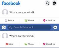 facebookアプリのUIについて質問です。 iOSのfacebook公式アプリですが、デザインが添付画像の2種類あるようです。 このデザインの違いはなぜ生じるのでしょうか? わかる方がいらっしゃれば是非ご教示ください。