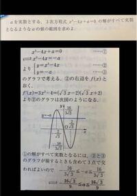 「解が全て実数解となる」 というのはどういうことですか?? 全て実数となるためにどうして3点で交わらないといけないんですか? 重解も3点っていうんですか?  よろしくお願いします。