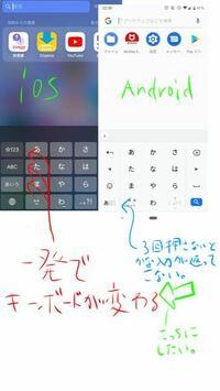 スマホのキーボードについて iPhoneからアンドロイドに変えたのですが、かな入力英語入力数字入力とキーボードを変える際iPhoneだと左の1Aあを押すだけだったのですがアンドロイドではタップの切り替えじゃないで...