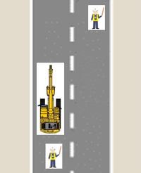 ベテランの交通誘導警備員の方に質問致します。  移動しながら【片側交互通行】を行う場合、2人の警備員の立ち位置は添付しました画像の位置で問題ないのでしょうか?   ご指導、お願い致します。