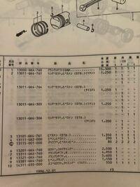 スーパーカブ50のピストンリングをパーツリストで見て注文しようと思うのですが4種類くらいあります。 この4種類は別物なのでしょうか? C50カブはどれを注文したらいいのでしょうか? 誰かおしえてください。