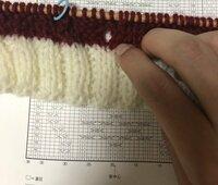 現在棒編みで 透かし模様のペット用セーター に初チャレンジしています。 左に見える青いリングから7つ右に数えた所に大きな穴が開いてしまっています (画像参照。 ちなみに編み物の下にあるのは今作っている...
