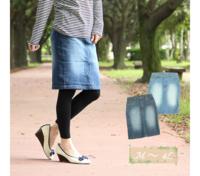 画像のような膝丈のデニムスカートにタイツを合わせスニーカー等を履くファッションは今時は古いですか(^^;)?デニムスカートではなくフレア?なスカートが今時なんでしょうか?流行に疎くて...