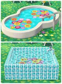 ポケ森  ポケ森のジャグジーやプール、お風呂等の家具に お花を浮かべてる人を見かけました どうやるのでしょうか?