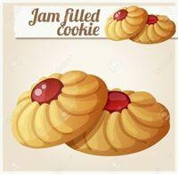 イチゴジャムが乗ったクッキー…  画像のようなイチゴジャムクッキーを食べたいのですが、 ジャム部分がネチネチっとしたものを探しています。  おすすめはありますか? 形は問いません。