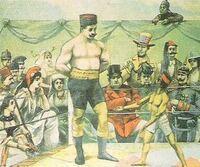 日露戦争の風刺画について教えてください。 以下の画像ですが、こちらの画像の出典はどちらからでしょうか。 ネットで調べたところ、ロシアのものだという方とフランスのものだという方がいるようです。 よろしくお願いいたします。