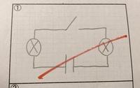 一個のスイッチで2個の電球を同時に点滅できる回路の図を書きなさい。   という設問に対し、この図がダメな理由を教えてください。  そもそも理科がわからないのですが。