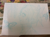 小6です。鬼滅の刃の胡蝶しのぶさんを描きました。周りのは蝶と藤の花です。模写ではないです。下描きだし途中ですみません…このあと仕上げる時に良いものにしたくて質問しました。 アドバイスや改善点を教えてく...