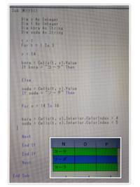 VBAで質問です。 、 3×3の表で、コーラとソーダの「n列〜p列の各セル」に色を塗りたいんです。  何処を直せば、完成します
