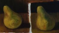 このような油絵の描き方は一般的な描き方ですか? 左が無名の私の先生のお手本の梨 並んで右が初めて昨日油絵を描いた私の梨