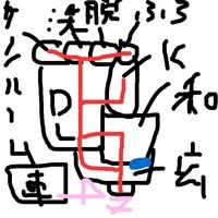 北東の角地80坪 正方形の土地は玄関、カーポートはどちらへ置くべきですか? 間取り診断 もお願いします。 赤が動線 左上から、サンルーム、ファミリールーム[画像では抜けてました]、洗面 室、脱衣室、風呂...
