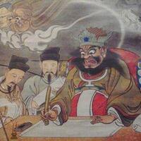閻魔大王様の隣にいる人間らしい人物は誰ですか?画像貼っときます。