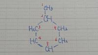 高校化学についての質問です。 画像の六員環構造の炭化水素は2の炭素が不斉炭素原子となりますが、どのように判断しますか? 炭素の番号は、正しいか自信がありませんが、画像に従ってください。