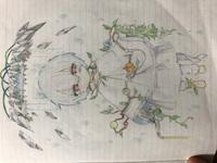絵評価お願いします。    イラストレーター目指してる中学1年生です。   まふまふさんの 神楽色アーティファクトの絵です。 色鉛筆で塗りました。  1.中一でこの絵はどうか。 2.直し た方がいい所。  この2点を教えていただけると嬉しいです。