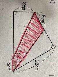 赤い部分の面積を求めたいです。 どのように求めれば良いのですか?