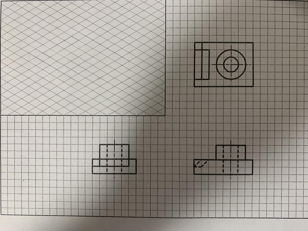 この三面図の等角図を教えてください
