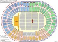 大阪城ホールでライブがあるんですが画像の線の引いてある席を持っています。この席はブロックの最前になると思いますが前はどれくらい広いでしょうか?それとセンステがあるんですがどれくらい 近いでしょうか?