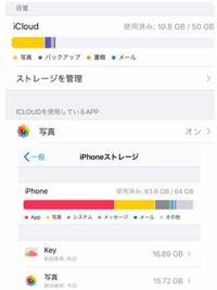 写真のようにiCloudのストレージはたくさん空いてるのにiPhoneストレージが満タンです。 どうすればいいのでしょうか? このままではアプリが落ちたりしてしまいます