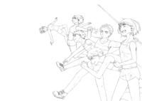 これは陸上競技の絵です 手前から長距離、短距離、やり投げ、幅跳び、高跳びをしている高校生を描いています この線画の違和感があるところ、またそれをどのように直せばいいか添削をして頂きたいです!よろしく...