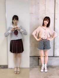 宮田愛萌ちゃん(157.5cm)と、 松田好花ちゃん(157.2cm)の 体重はそれぞれ何kgだと思いますか?   ※体重は小数第一位の値までお願いします。  また、脚どっちの方が細いと思いますか?