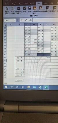 エクセルの数式について教えてください! 拘束時間をC41にSAMで計算します。 出勤日数をC47にCOUNTで出します。 C42にC47で出した日数(15日なら15時間)の時間分を引いて表示する計算式を教 えてください。 ...