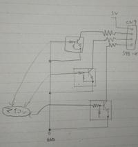 下の回路にA/D変換するための可変抵抗と1kΩの抵抗を入れたいのですが、どこに入れたらよいでしょうか?