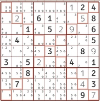 数独が得意な方助けてください!  ここから先進めません。次の一手を教えていただけないでしょうか! 宜しくお願いします! 斜めにも一から九の数字が入るタイプの数独です。