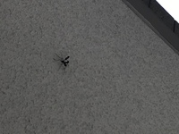 ベランダの天井にある虫です。 上手く撮影出来なかったのですが、 なんの虫かわかりますか? ハチなのか? 色は黒かったです。 なんとなく、お尻が反り返ってる感じがします。 宜しくお願 いします。