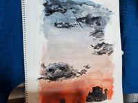 見様見真似で水彩画を描いてみました。簡単な絵ですがアドバイスお願いします!