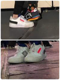 靴好きな方!!この靴何か教えてください!! 別の写真の後ろ側にナイキっぽいマークがあったのでナイキかもしれません!! お願いします。 白い方です。
