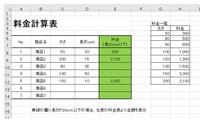 Excelで料金表を作成しています。 黄緑の欄に長さが20cm以下の場合は右表の料金表より 太さ別の料金を表示させていのですがなかなかできません。 数式・条件等ご教授いただきたいです。 よろしくお願いします。