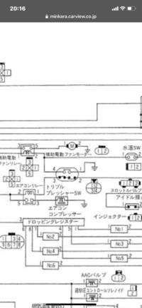 自動車の配線図で質問です。 画像(配線図)の中央に丸い4ピンカプラーの絵(左上4から時計回りに1、2、3)が有るのですが。 その4ピンカプラーの絵のすぐ右下に、少し小さな丸い4ピンカプラーの 絵(左上1から時計回りに2、4、3)があります。 これは同じカプラーのオスメスなのでしょうか? また、同じであるなら、何故3番以外は場所が違うのでしょうか? そしてもし関係無いのであれば、配線...