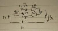 この問題の電圧Vabの求め方を教えてください。 電流I1I2I3の求め方は分かっています。 E1とE2の電圧が二つあっていまいち考え方が分かりません。