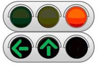 矢印式信号機と右折レーンについて  交通ルールについて、ふとわからなくなったので質問します。 交差点で右折しようとして、三車線の右側の右折レーンの先頭で信号待ちをしていたら、矢印式信号機が下の添付画...