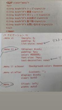 webデザインのコーディングについて質問です。 サンプルサイトのナビゲーションのコーディングを参考書で学んでいるのですが、写真のようにcssで、【.menu li a】と【.menu li】の2つに分ける理由が分かりません...