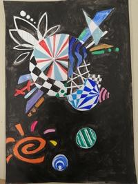 米津玄師さんのとある曲をイメージして描いた絵です。なんの曲だと思いますか?。自分の好きな曲をイメージして絵を描く授業で描きました。ヒントはYou Tubeにフルではのってません。