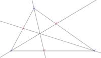 チェバの定理の逆の応用についての質問です。 チェバの定理の逆を利用して、三角形ABCに内心が存在することを証明したいのですが、、  角A , B, Cを二等分し、延長した線と辺AB, BC, CAの交点をそれぞれP, Q, R...
