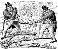 産業革命の風刺画についてです。 これは何を指しているのでしょうか?? どなたか教えていただけると嬉しいです。 国名なども詳しくお願いします。