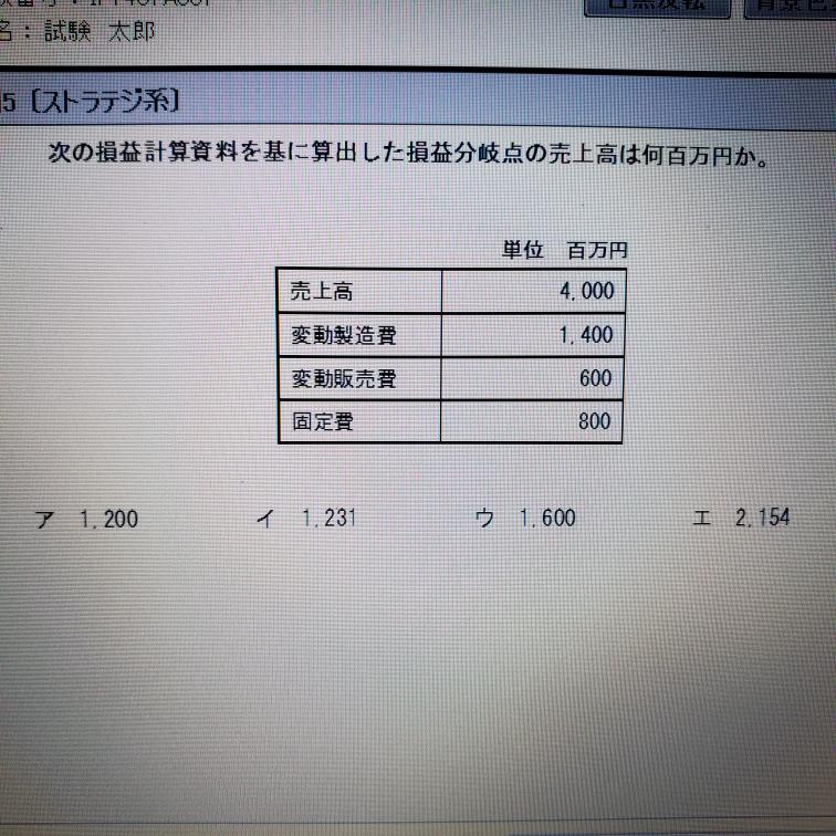 式を立てましたが合いません。どこが違うのか教えてください。 費用の式 y=1400x+800 売上の式 y=600x