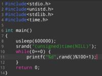 C言語 (c) で乱数を表示するプログラムをつくりました。それで、超高速に表示される数字をゆっくり見たいのですが、ループ中にsleep文を入れると、プログラムが動かなくなってしまいます。どうしたらよいでしょう...