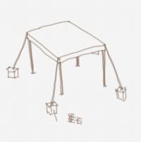 タープテントを購入しようと思っています。 柱にペグは打ち込めない場所なので ロープに重石を付ければ飛んで行かないでしょうか?