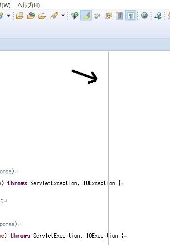 eclipseでの質問です。 長いコードを表示した時に画像のセンターラインのような線が表示されてしまいます。 この線って消すこと可能でしょうか? コードをスクショしたいのですがこの線あるのがす...