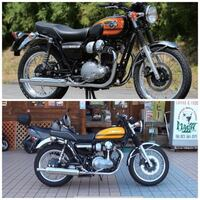 バイク カワサキ 上のバイクと下のバイクの名前教えて欲しいです。