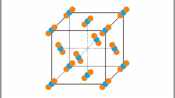 化学および量子化学についての質問です。下の写真は固体状態のドライアイスの構造ですが、この二酸化炭素の分子同士の距離はいくらなのでしょうか。教えて頂けないでしょうか。