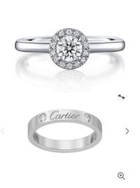 アイプリモとカルティエに婚約指輪と結婚指輪を見に行きました。 写真上のアイプリモの婚約指輪と写真下のカルティエの結婚指輪が気に入ったのですが、この二つは重ね付けして合うと思いますか ? ブランドが違うのはこだわらないのでいいのですが、両方とも存在感強めなのでどちらかは妥協して細いリングにしたほうがいいでしょうか?