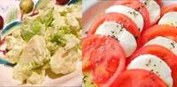 たべたいのはどっち?  ①アボカドのクリームチーズ和え。 ②トマトとモッツァレラのカプレーゼ。